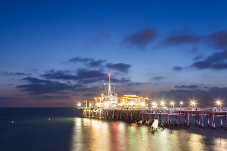 Santa Monica Pier after sunset, Santa Monica, California, USA. photo