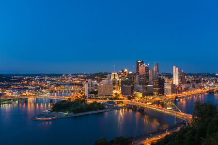 Pittsburgh downtown skyline at night, pennsylvania, USA. photo
