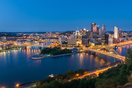 Pittsburgh downtown skyline at night, pennsylvania, USA. photo