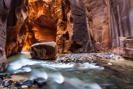 zion: Wall street in the Narrows, Zion National Park, Utah Stock Photo