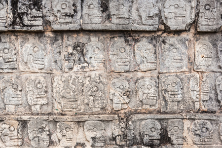 ancient wall in Chichen Itza temple, Mexico.