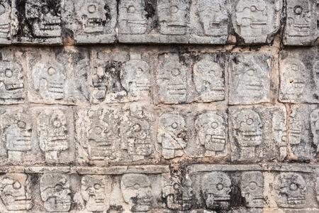 ancient wall in Chichen Itza temple, Mexico. photo