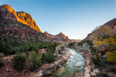 a watchman: Beautiful iconic scene of The watchman at sunset, Zion National Park, Utah. Stock Photo