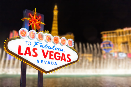 Las vegas sign and strip background, Nevada