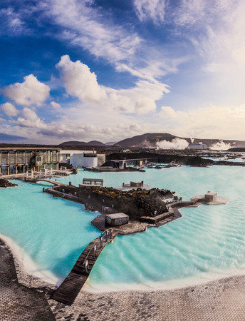 Blue lagoon outdoor geothermal pool, Iceland in the morning.