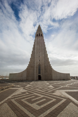 erikson: REYKJAVIK, ICELAND - April 03: Hallgrimskirkja Church is a famous and largest church in Reykjavík, Iceland, with statue of Leif Erikson,on April 03, 2014.