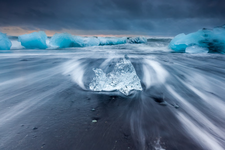 jokulsarlon: Ice beach at jokulsarlon, Iceland. Stock Photo