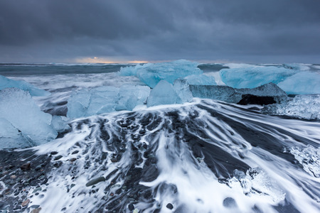 jokulsarlon: Ice beach at jokulsarlon, Iceland Stock Photo