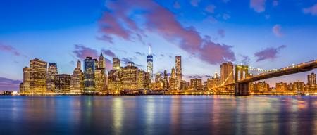 Panorama view of New York City Manhattan downtown skyline and Brooklyn bridge