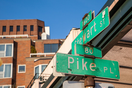 places of interest: Pike place street sign in downtown Seattle