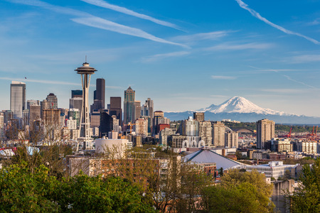 Seattle downtown skyline and Mt. Rainier, Washington.