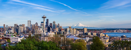 panorama city: Panorama view of Seattle downtown skyline and Mt. Rainier, Washington. Stock Photo