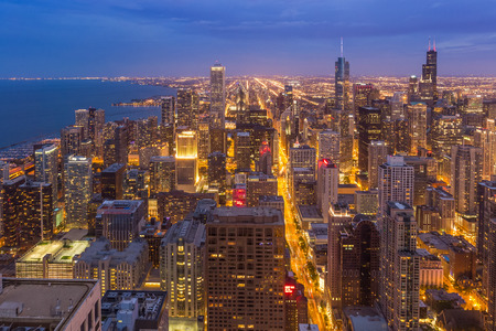 urban architecture: Chicago downtown skyline at night Illinois Stock Photo