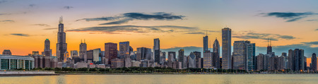 chicago city: Chicago downtown skyline and lake michigan at sunset, Illinois Stock Photo