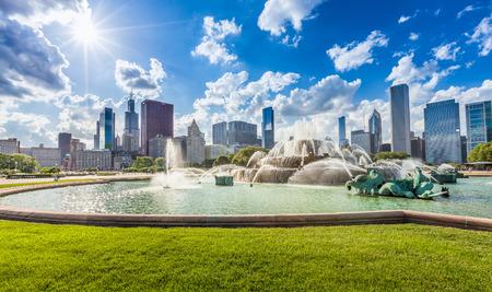 city park skyline: Buckingham fountain and Chicago downtown skyline Stock Photo