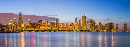 Chicago downtown skyline and lake michigan at night, Illinois
