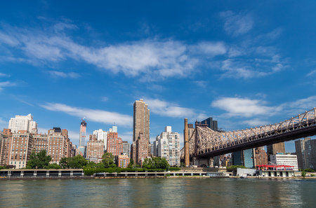 roosevelt: New york residential building by east river from roosevelt island Stock Photo