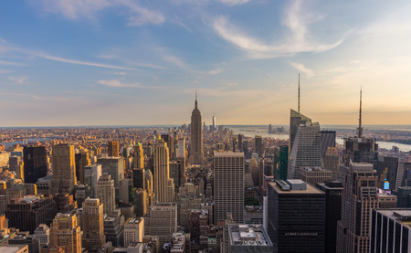 aerial: New York City downtown skyline at sunset