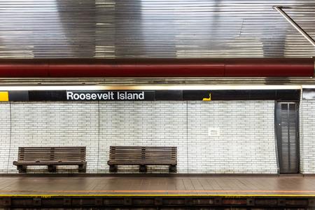NYC subway station and bench