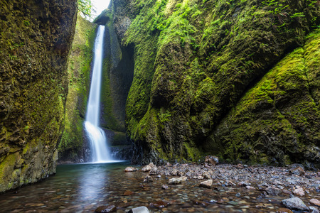 gorge: waterfalls in Oneonta Gorge trail, Oregon.