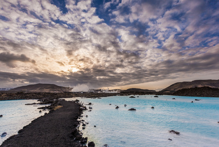 therapy geothermal: Geothermal pool in Blue lagoon in the morning, Iceland. Stock Photo