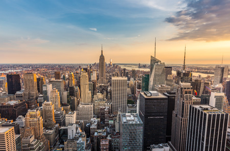 aerial: New York City midtown skyline Stock Photo