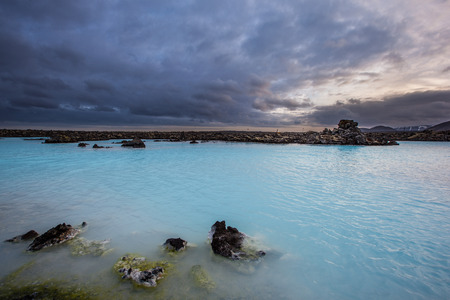 lagoon: Geothermal pool in Blue lagoon in Iceland