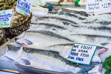 Fresh whole sockeye salmons in Pike place market.