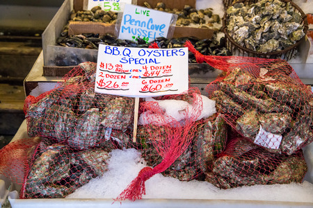 Fresh oysters in pike place market, Seattle.