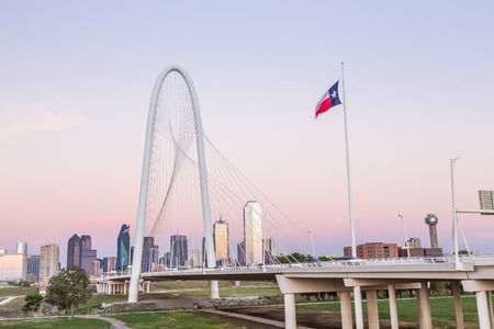 Dallas downtown skyline with Margaret hut hills bridge.