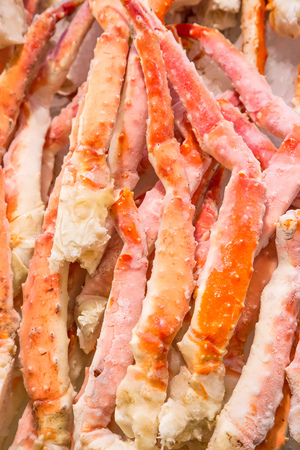 pike place: Frozen king crab legs in Pike place market.