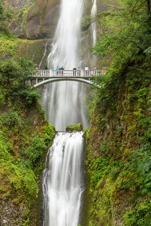 Famous Multnomah falls in Columbia river gorge, Oregon. Stock Photo