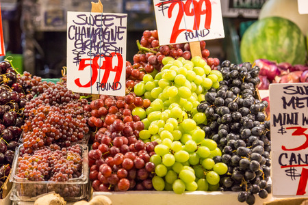 pike place: variety of grapes in Pike place market. Stock Photo