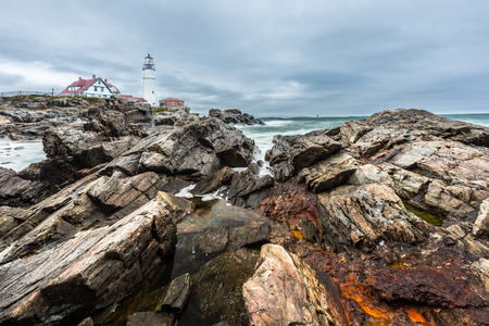 Strom: Portland Head Lighthouse in Cape Elizabeth, Maine in strom. Stock Photo