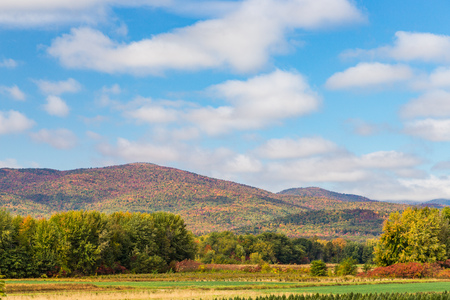 colorful mountain in Maine in fall. Stock Photo