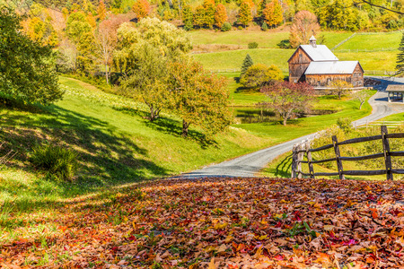 old red barn: Old barn in beautiful Vermont autumn landscape.