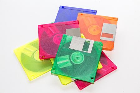 floppy: colorful floppy disk on white background.