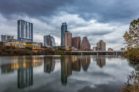 Austin downtown skyline by the river at night Stock Photo