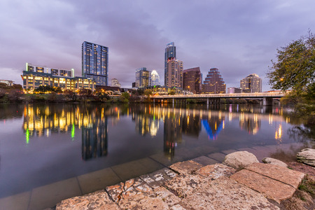 Austin downtown at night and reflection, Texas