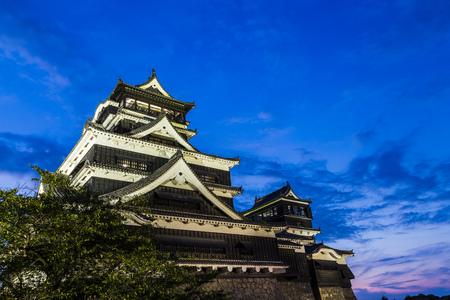 Kumamoto Castle at night in Kumamoto, Kyushu, Japan