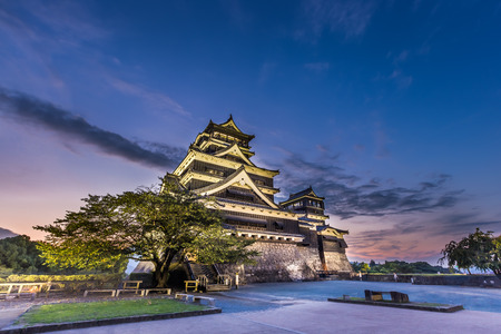 Beautiful sunset at Kumamoto Castle in Kyushu, Japan