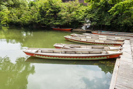 downstream: Donko, traditional poled boat, parked at deck in Yanagawa, Fukuoka, Japan