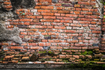 ancient brick wall: Ancient brick wall in Ayudhaya temple, Thailand