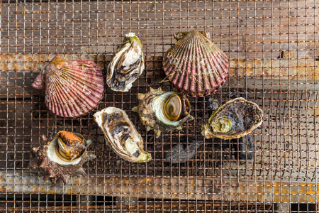 fresh seafood barbecue - Oyster and scallop grill
