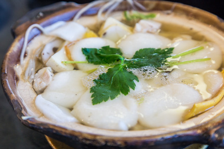 rice cake: Traditional Shimabara Guzoni - Delicious soup with rice cake and seafood Stock Photo