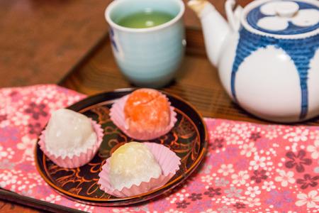 rice cake: Daifuku with hot green tea Stock Photo