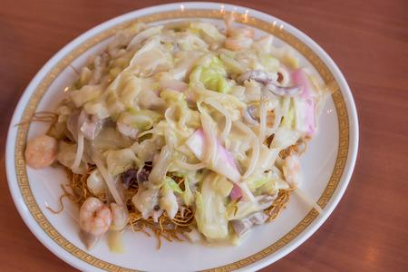 Seafood sara udon - Traditional Nagasaki fried noodle Stock Photo