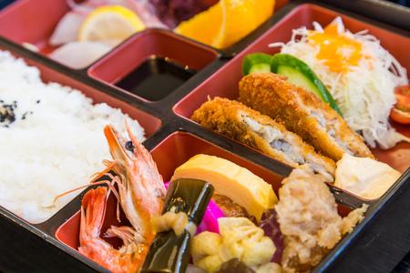 Makunouchi - Japanese seafood bento box Stok Fotoğraf