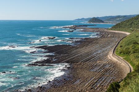 washboard: Nichinan coastline from Phoenix, viewpoint in Miyazaki, Kyushu, Japan. Stock Photo