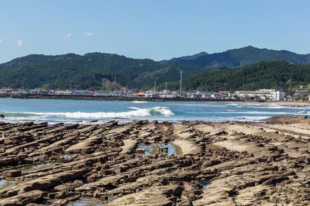 washboard: Devils Washboard coastline in Aoshima island, Miyazaki, Japan
